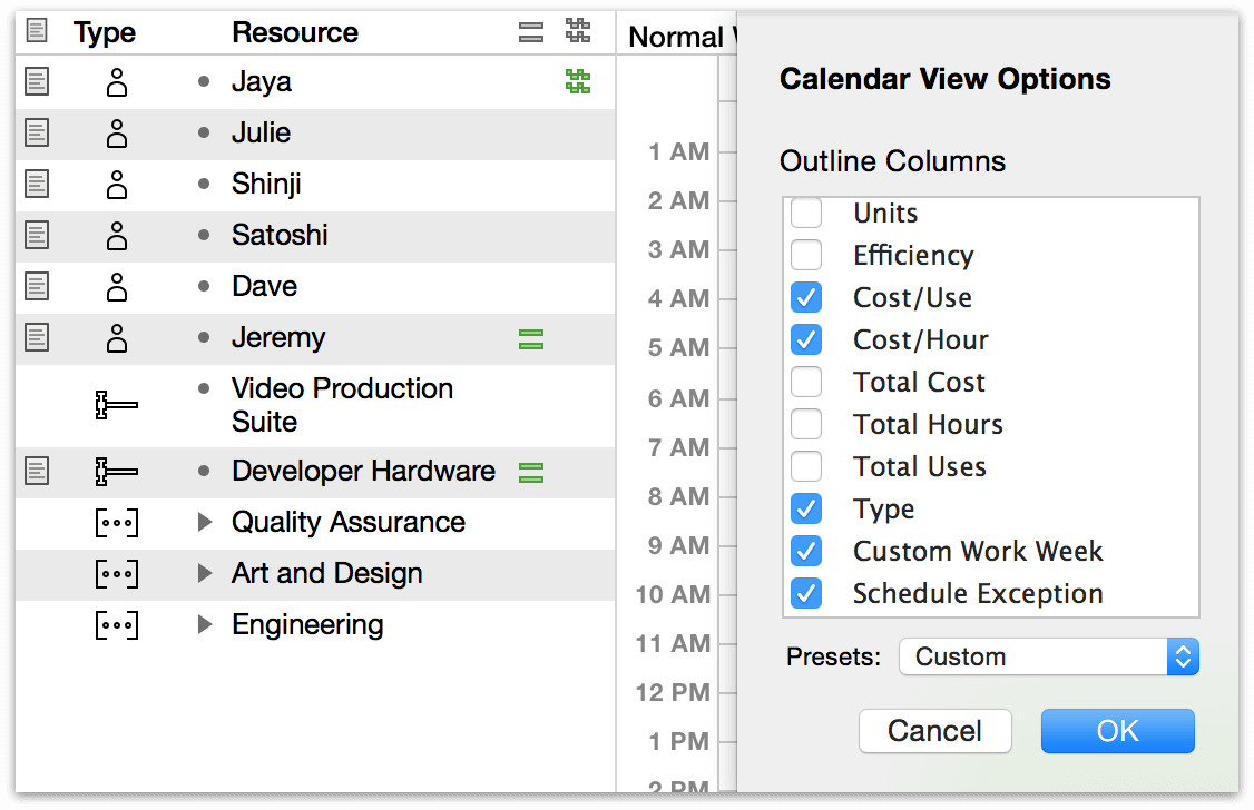 View options in Calendar View.