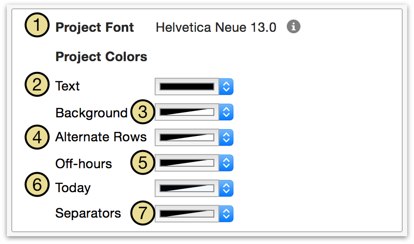 Changing project font and colors in Styles View.