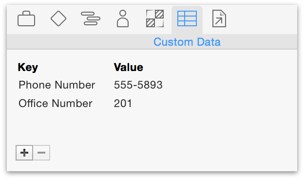 Adding custom data to a resource using the Custom Data inspector.