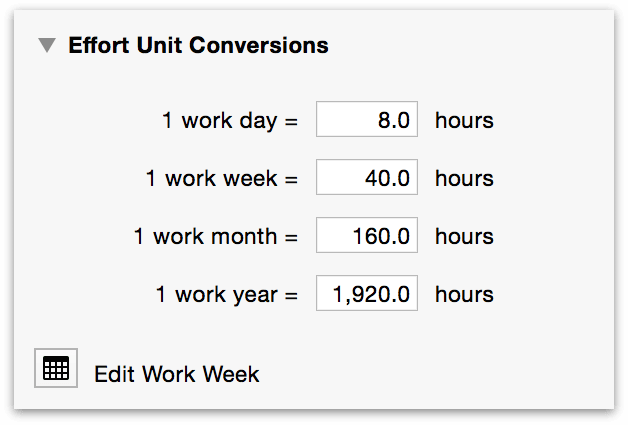 The Effort Unit Conversions section of the Project inspector.