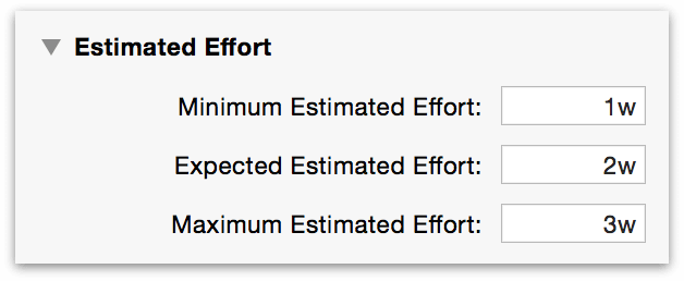 The Estimated Effort section of the Task inspector.