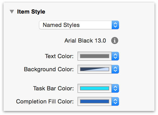 Item Styles in the Styles Inspector.