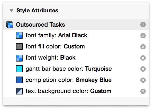 Attributes in the Styles inspector.
