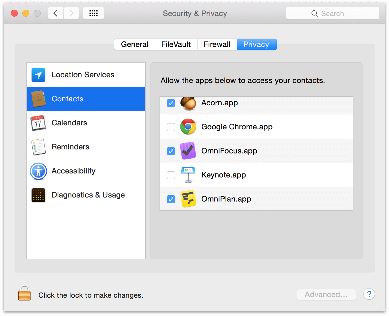 The Privacy tab of Security & Privacy in Apple's System Preferences.