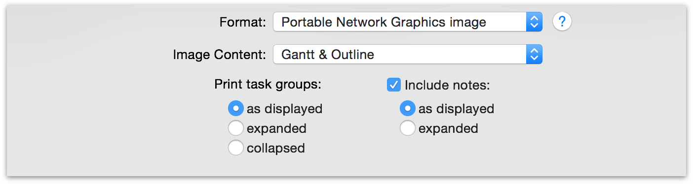 Customization options for image export in OmniPlan 3.