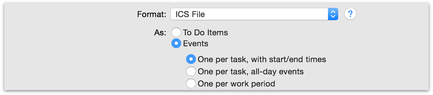 iCal ICS export options in OmniPlan 3.