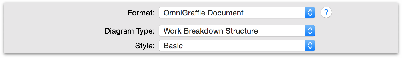 Options available when exporting to the OmniGraffle file format.