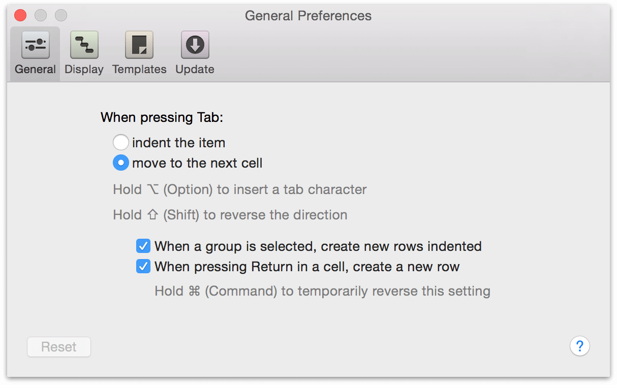 The General Preferences pane.