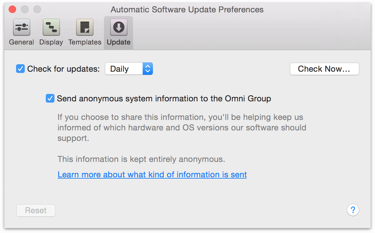 The Update Preferences pane.