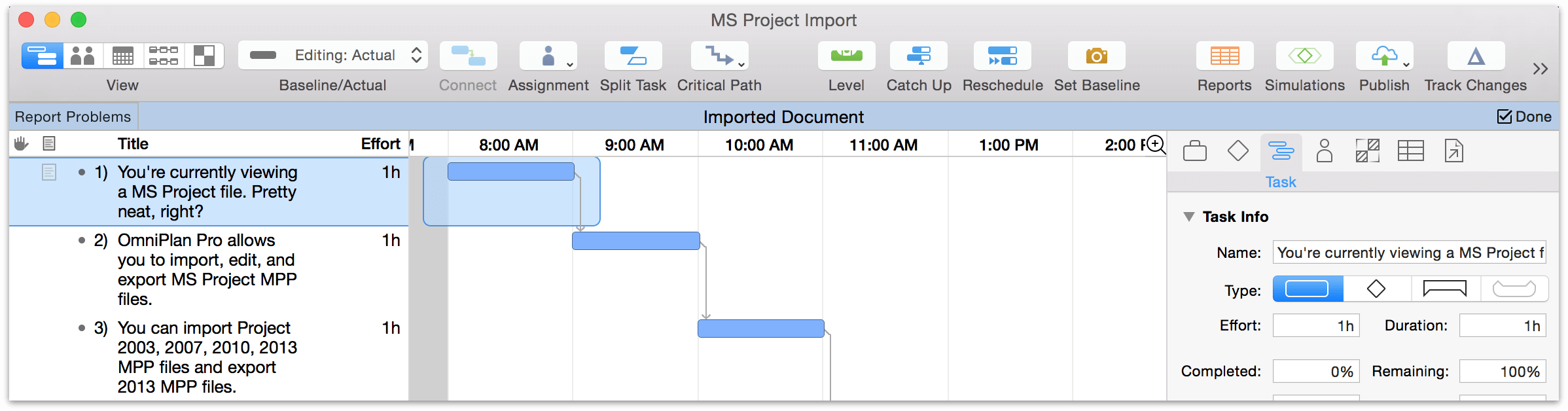 OmniPlan 3 for Mac User Manual - Importing and Exporting