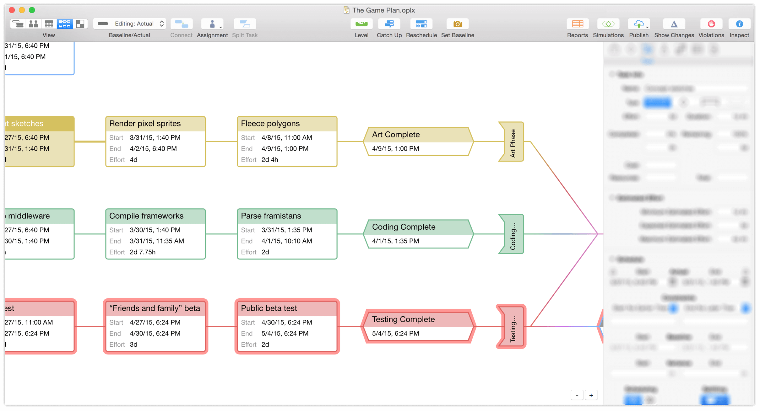 omniplan  for mac user manual   getting to know omniplanthe network view