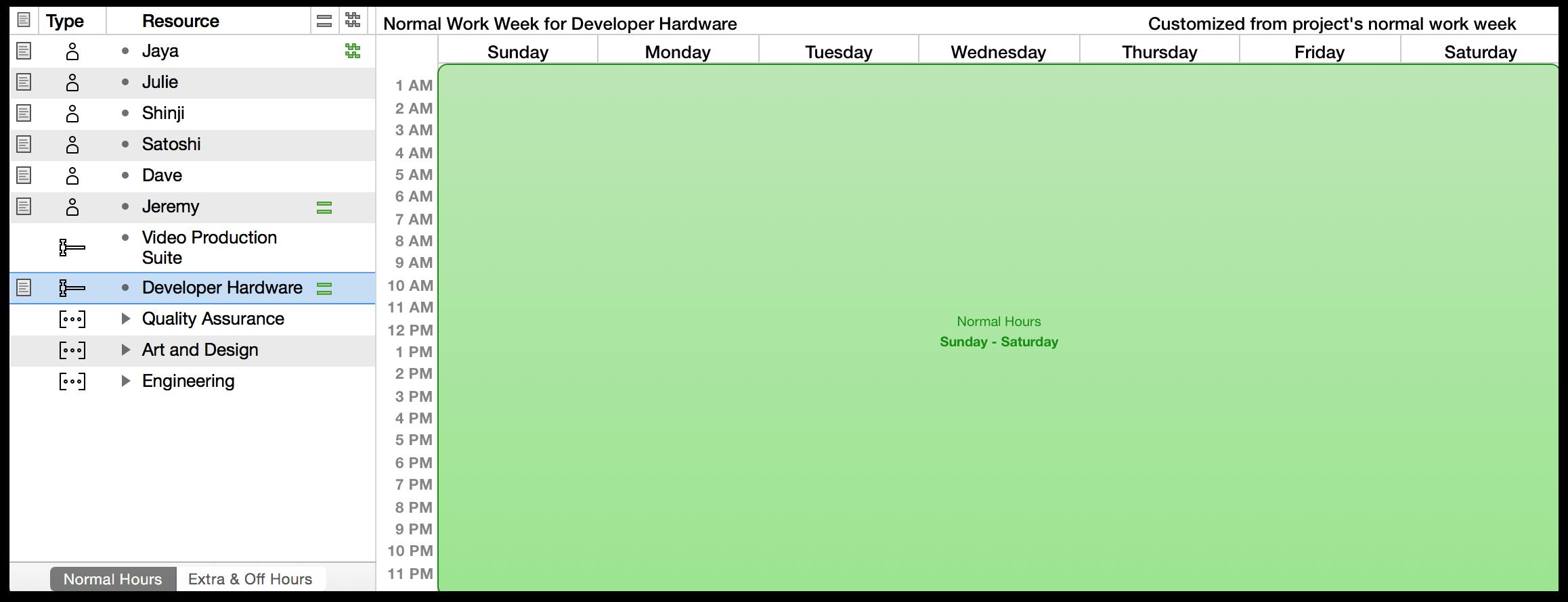 single week calendar