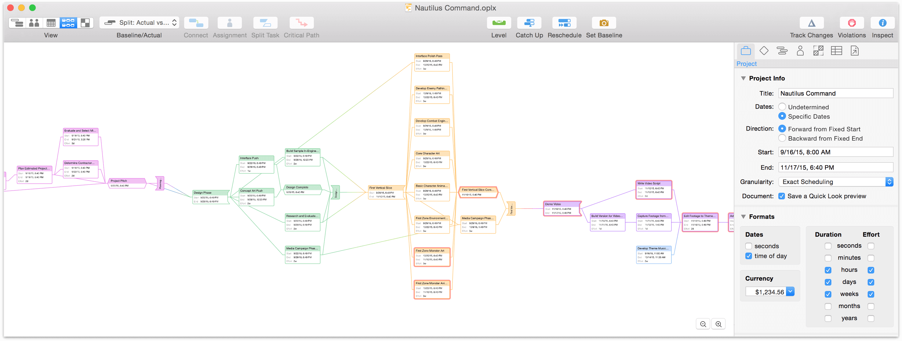 OmniPlan 3.6 for Mac User Manual - Working in Network View