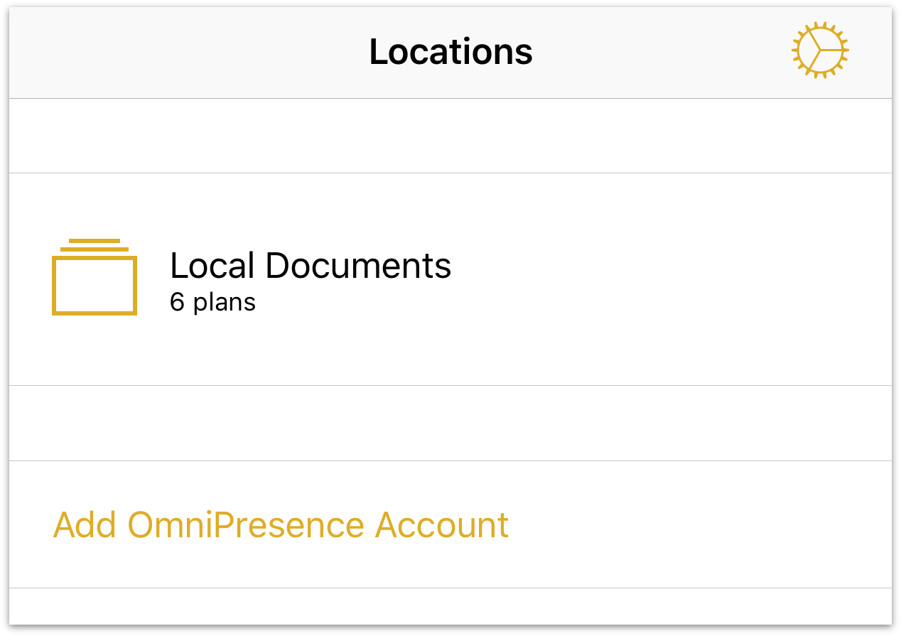 The Locations screen with Add OmniPresence Account displayed.