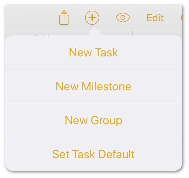 The Add New button's popover menu gives you additional options for adding tasks, milestones, groups, or setting a default style for the tasks you create.