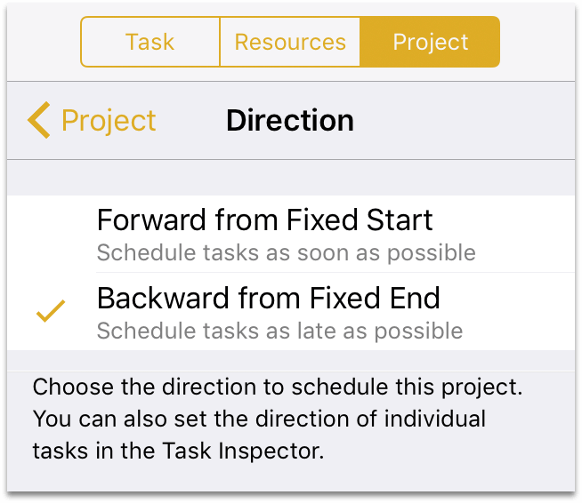 The Direction setting in the Project inspector.