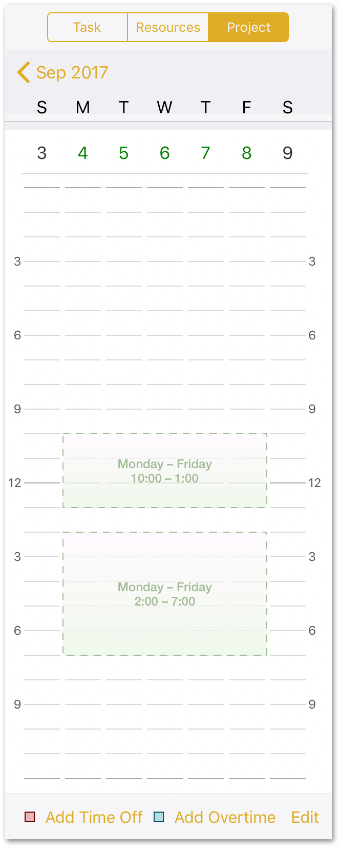 The Calendar shows the normal working hours as time blocks with a dashed border.