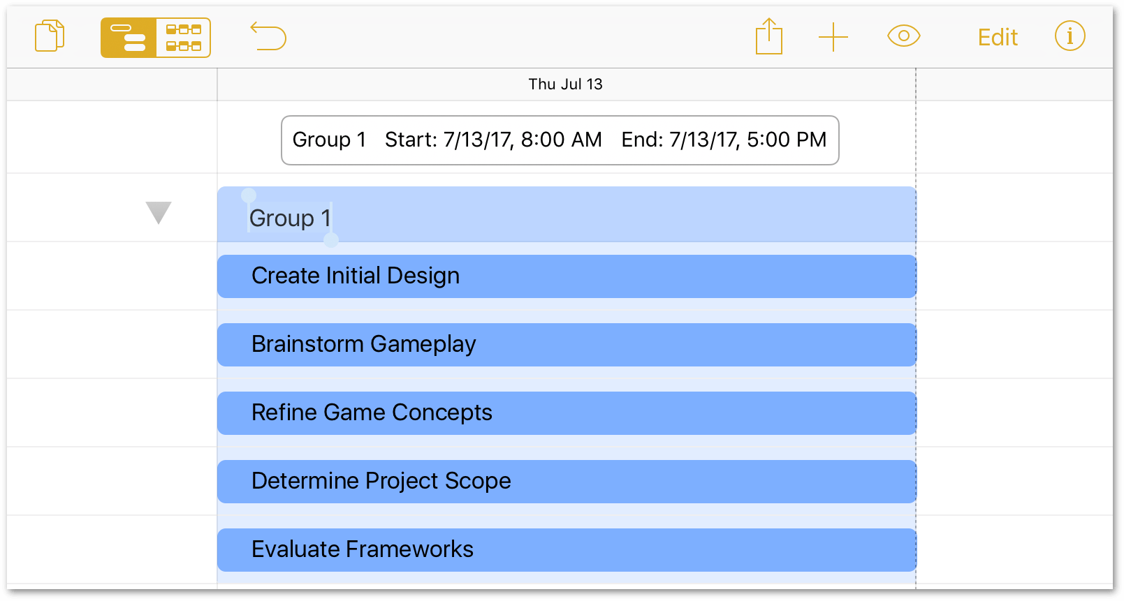 Selecting multiple tasks for grouping in Edit mode.