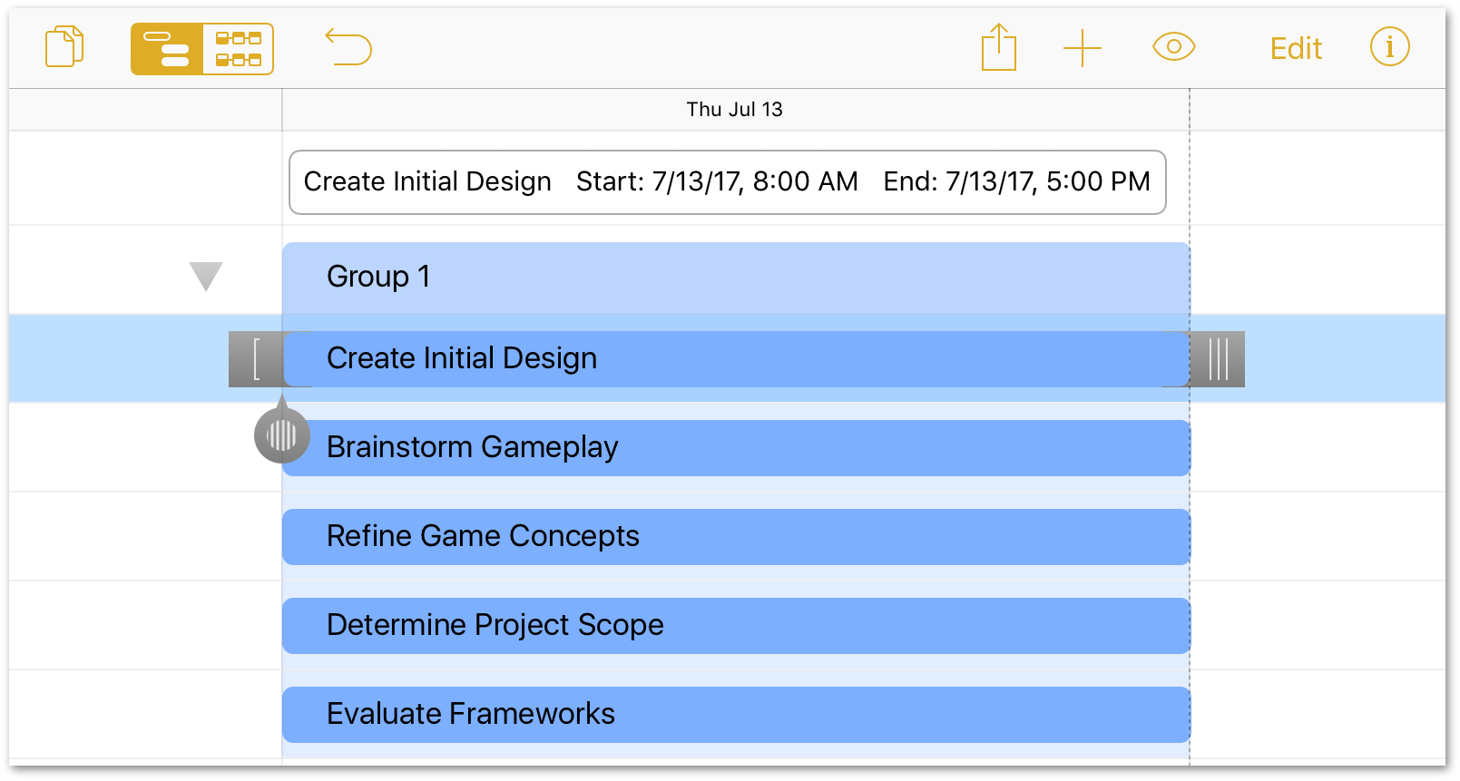 The Create Initial Design task, selected in the project editor