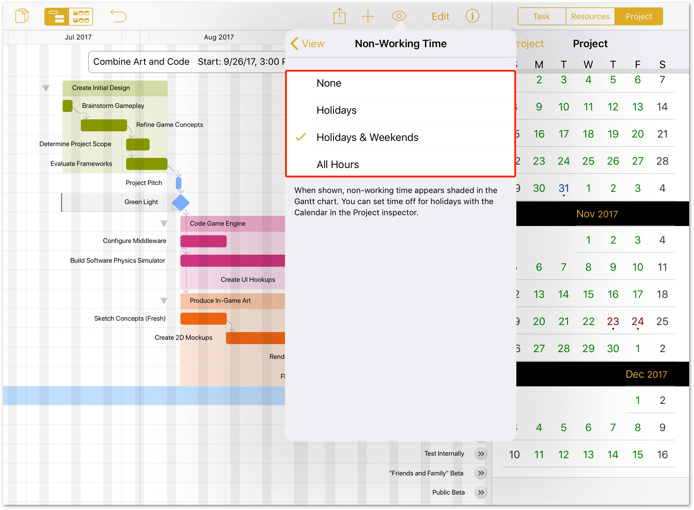 The View menu, displaying the options for non-working time that you can opt to see along with the project Gantt chart