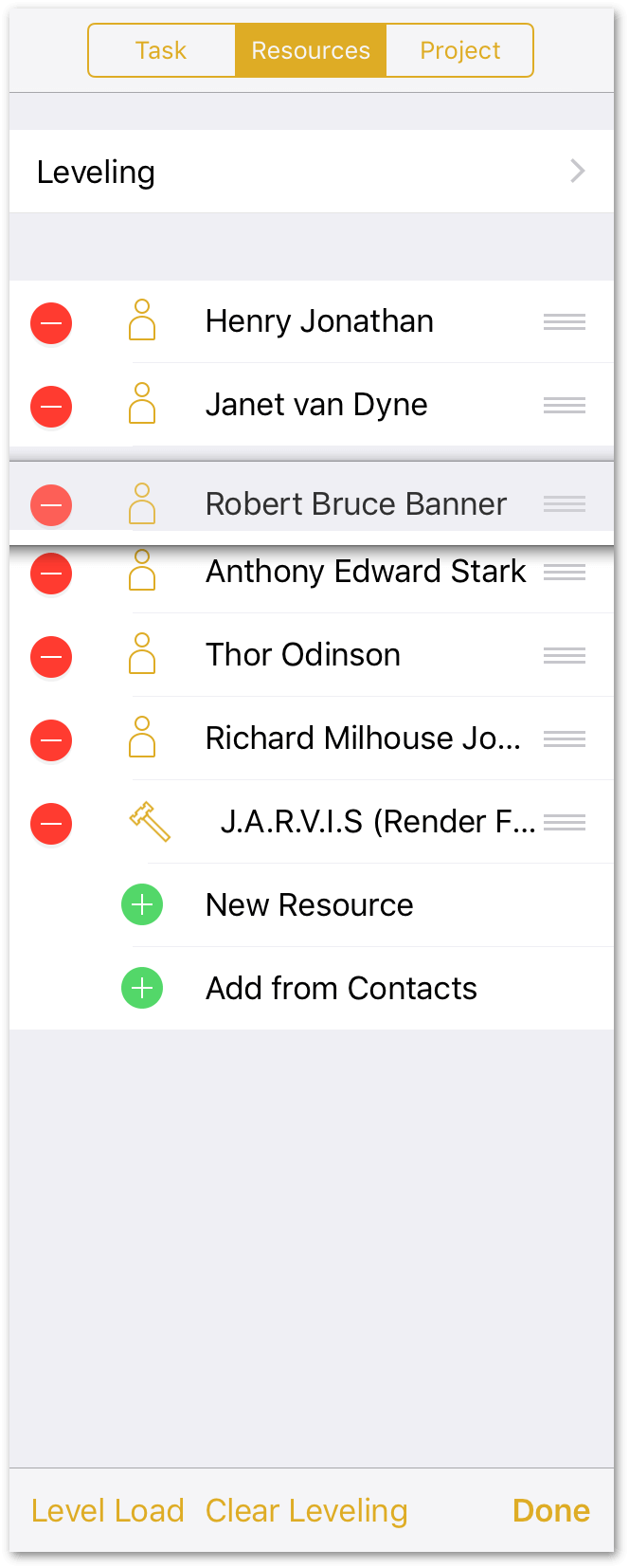 After tapping the Edit button, use the handles on the right edge of each resource to move them around in the list, or tap the delete button to remove a resource.