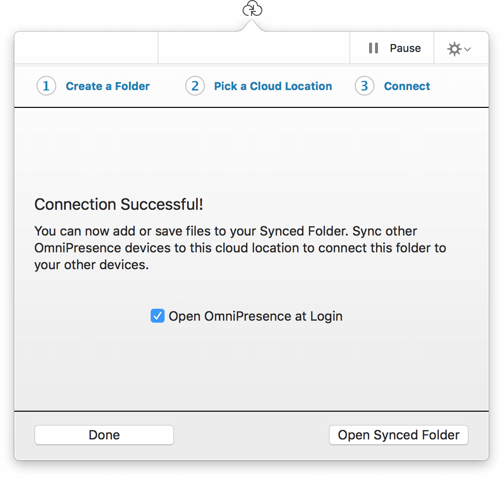 The OmniPresence popover lets you know when it has successfully connected to the Omni Sync Server account