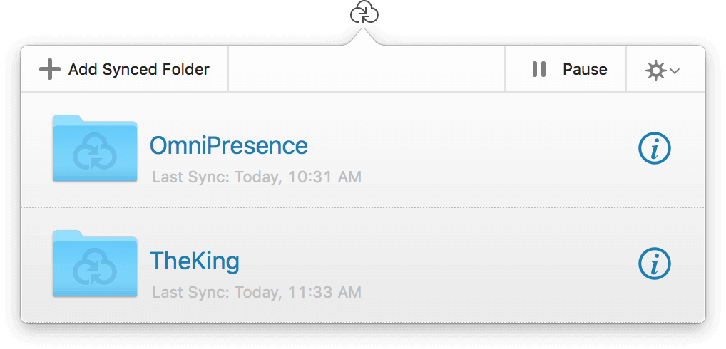 The OmniPresence popover menu, showing the two synced folders