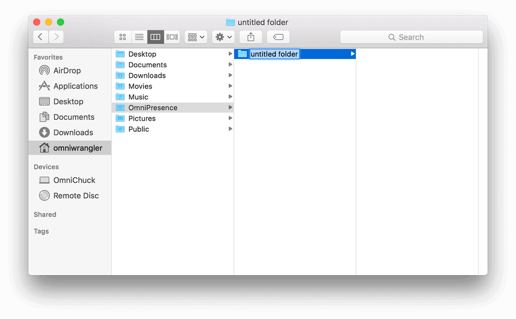 Adding a subfolder to the OmniPresence folder in the Finder