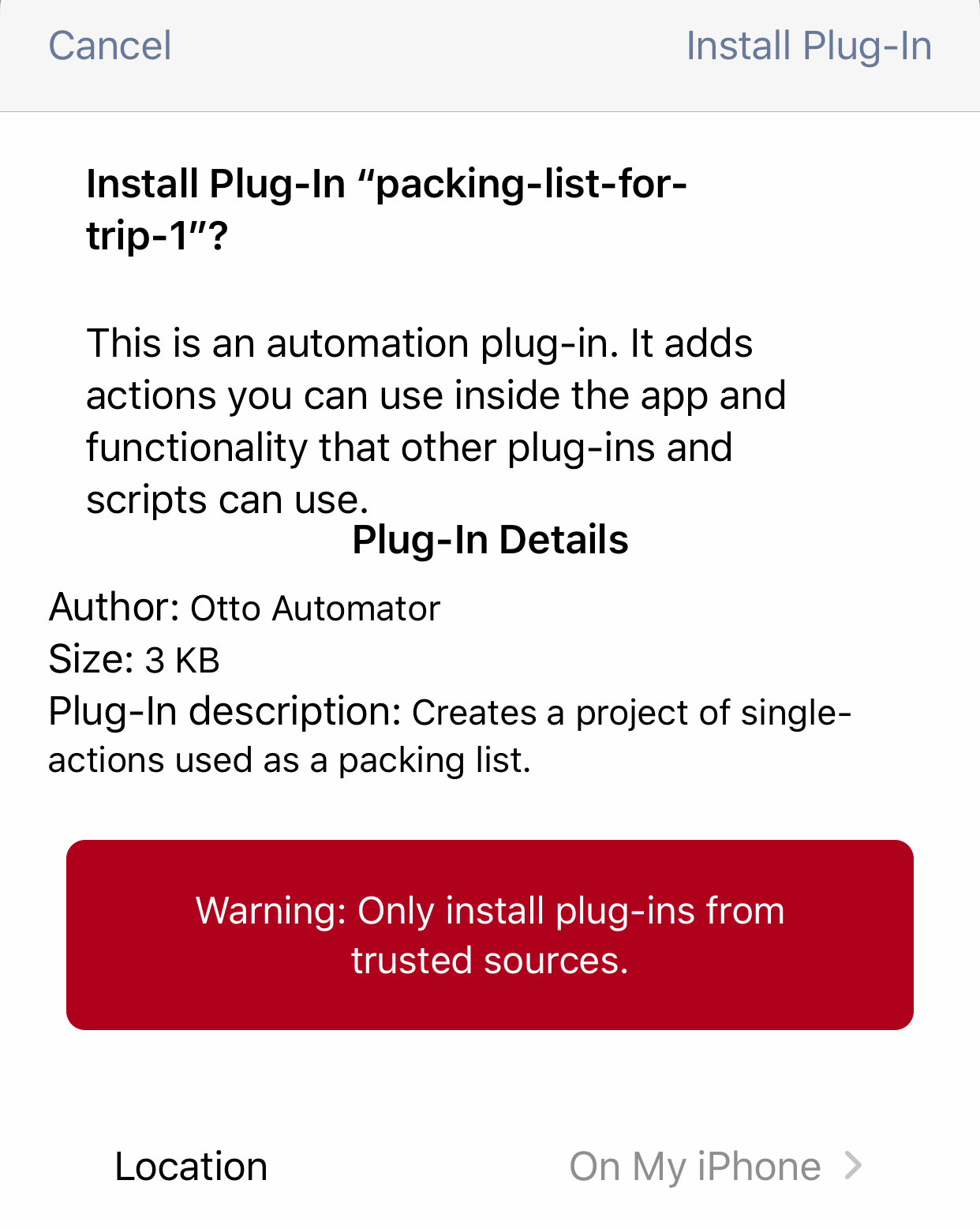 The Omni Automation Plug-In import dialog.