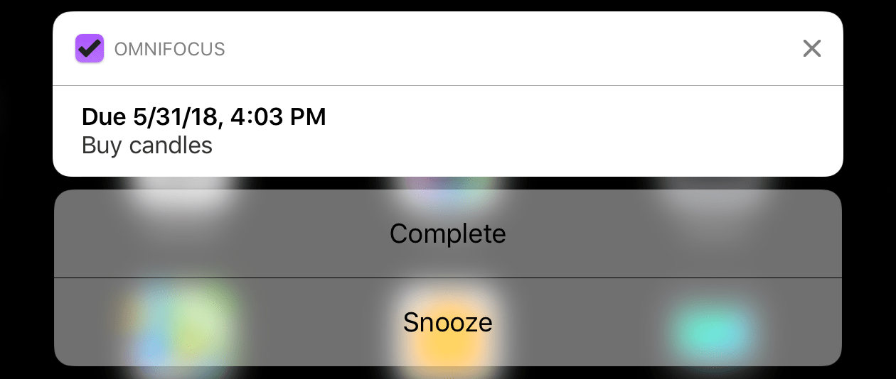The details of an OmniFocus notification on the iOS home screen.