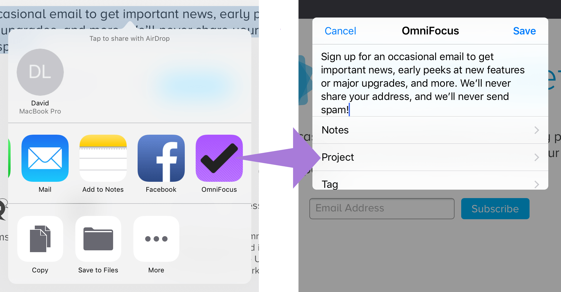Sharing to OmniFocus using the OmniFocus quick entry-style share sheet.
