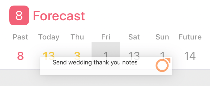 Dragging an item from the outline to a date in the Forecast perspective tile of the sidebar.