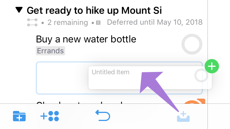 Dragging the New Inbox Item button into the outline adds a new action to a project in the hierarchy.