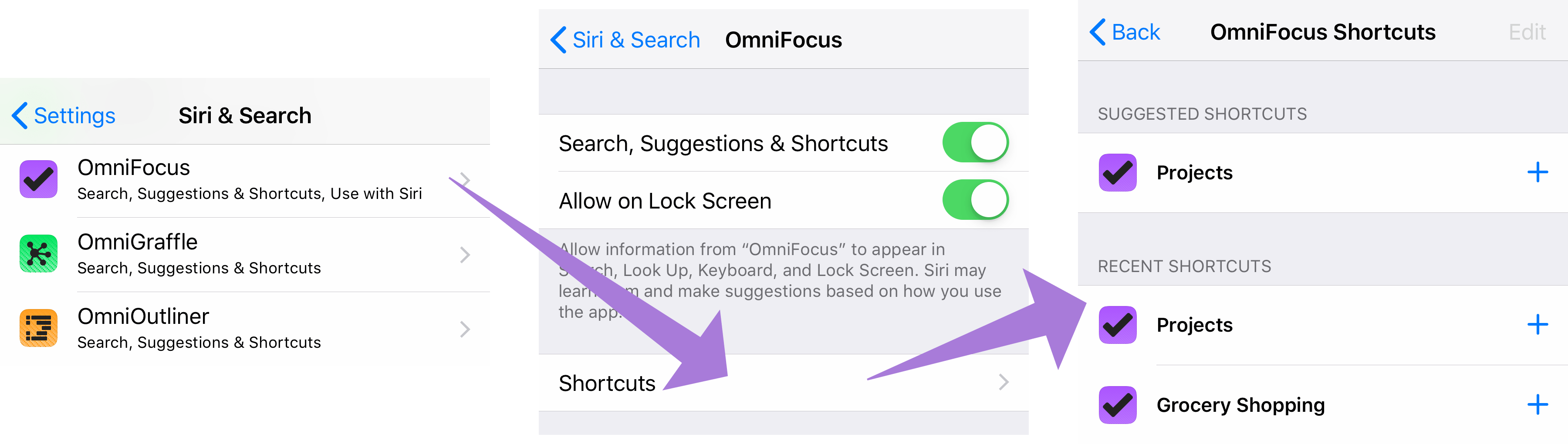 Navigating to the full list of recent OmniFocus shortcuts in iOS 12 Siri & Search settings