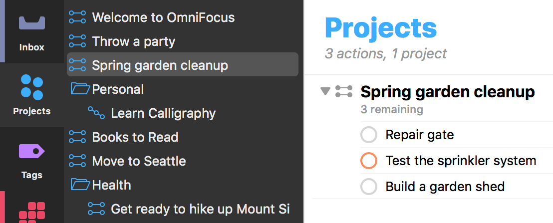 The Projects perspective tab selected in the sidebar.