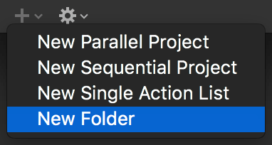 Creating a new folder with the Plus menu beneath the sidebar in the Projects perspective.