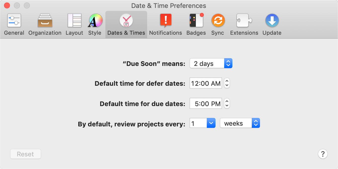 The Dates and Times tab of OmniFocus Preferences.