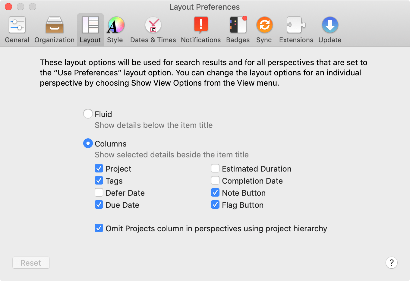 The Layout tab of OmniFocus Preferences.