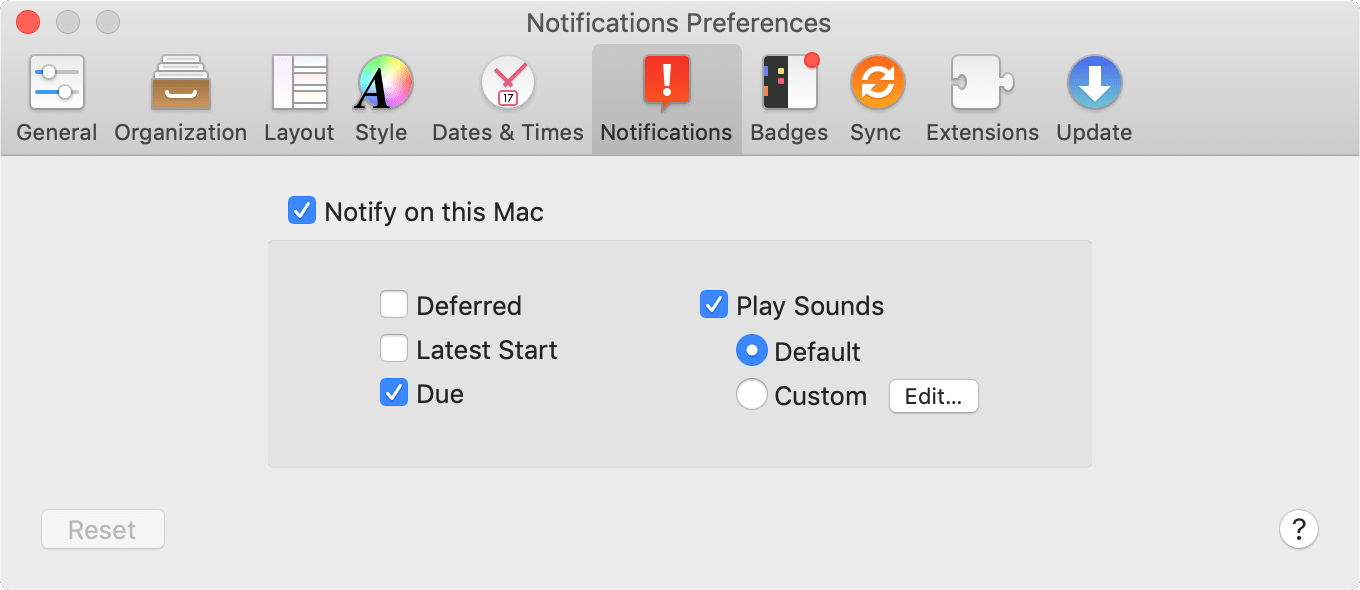 The Notifications tab of OmniFocus Preferences.