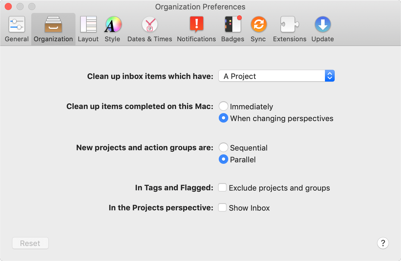 The Organization tab of OmniFocus Preferences.