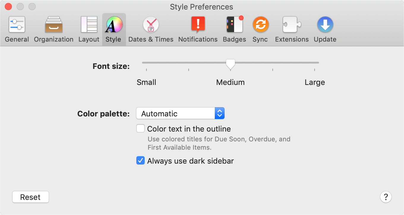 The Style tab of OmniFocus Preferences.