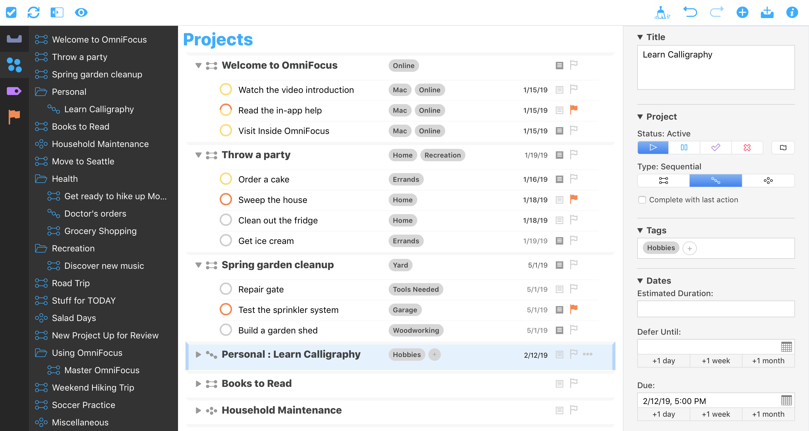 The Projects perspective in OmniFocus for the Web in Safari for Mac.