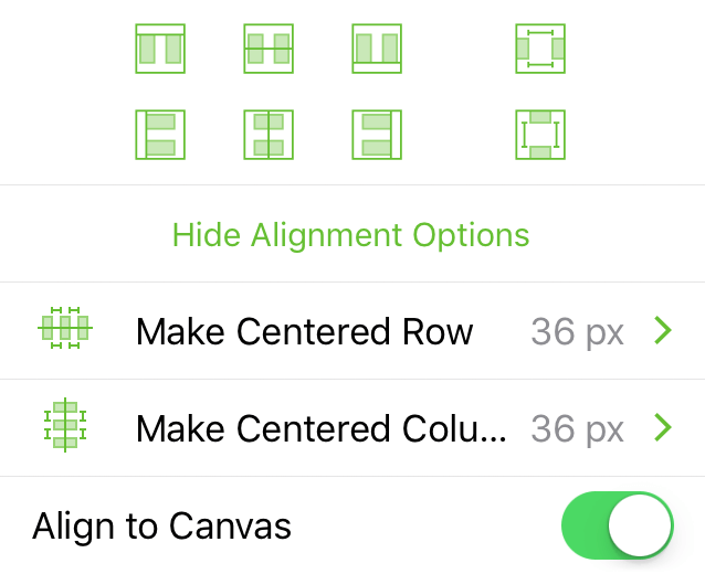 The Alignment inspector, when aligning objects to the canvas