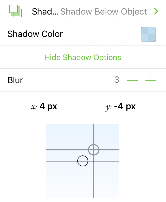 The Shadow inspector, showing the controls for adjusting the shadow offset and color