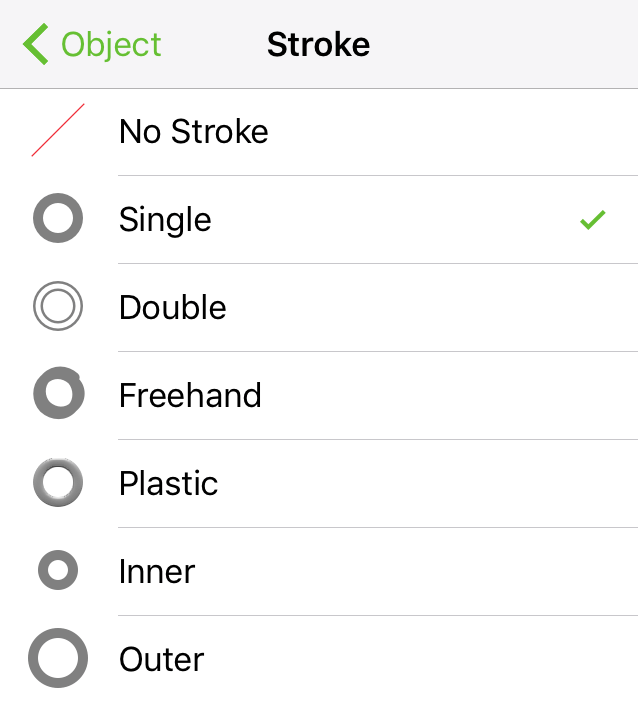 Choose a Stroke Type to set how the stroke appears