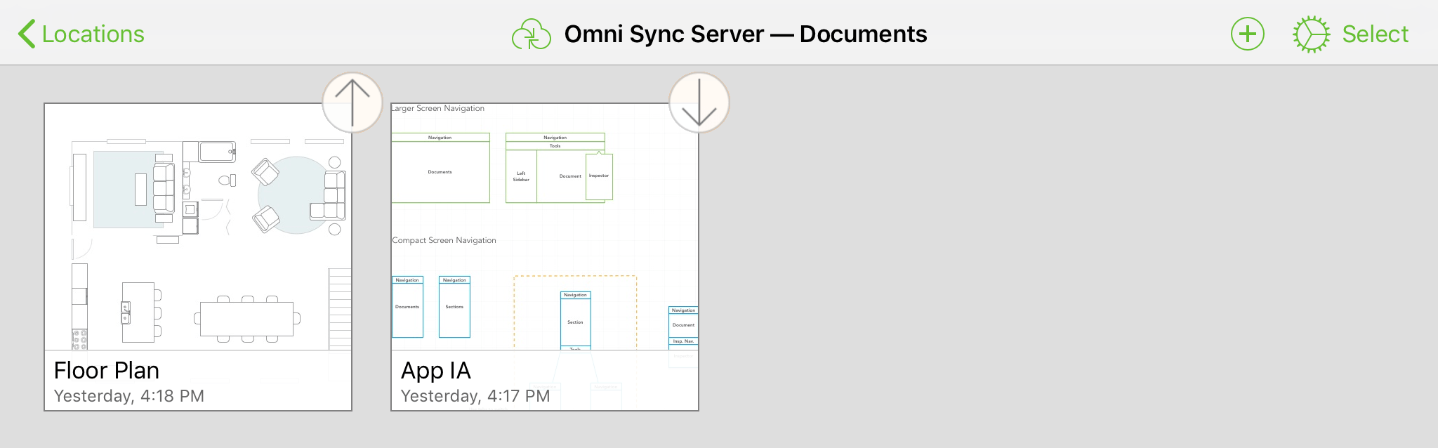 A synced OmniPresence folder with up and down arrow icons attached to some of the document thumbnails, indicating that a sync is in process for those files.