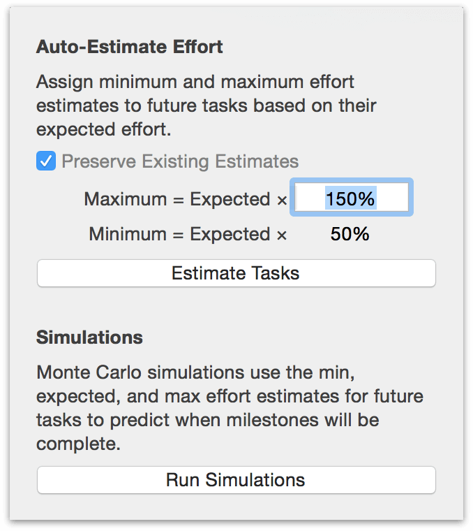 The Monte Carlo simulation menu, complete with task effort estimator.