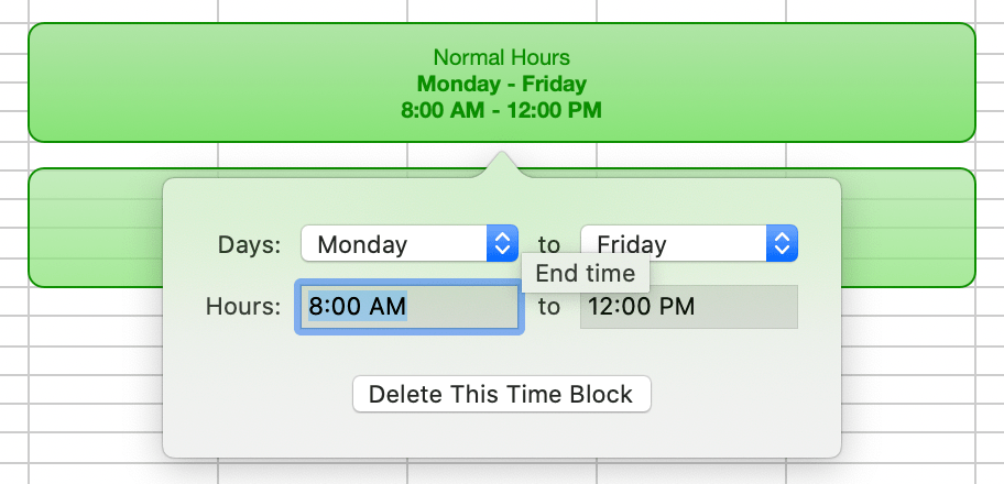Editing an existing time block.