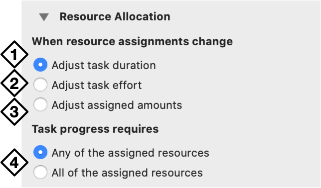 The Resource Allocation section of the Task inspector.