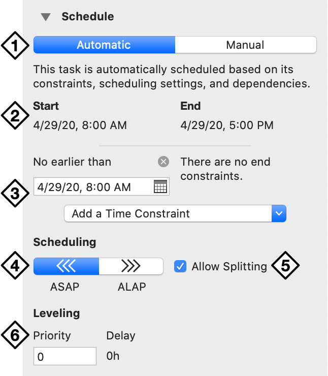 The Schedule section of the Task inspector.